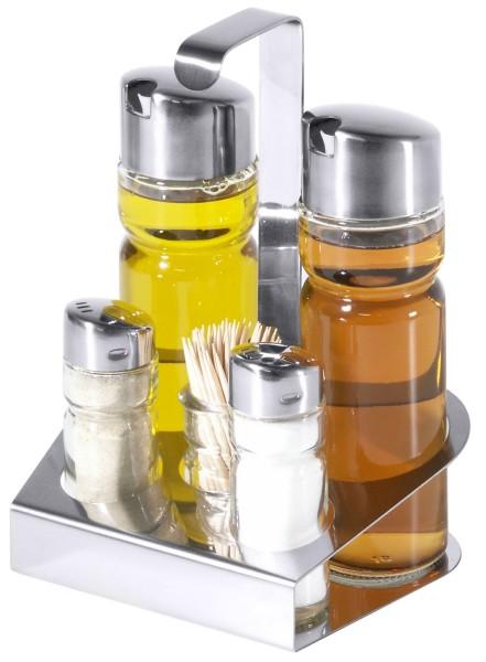 Menage Salz/Pfeffer, Essig/Öl, Zahnstocher