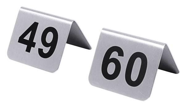 Tischnummern mit Nummern 49 bis 60