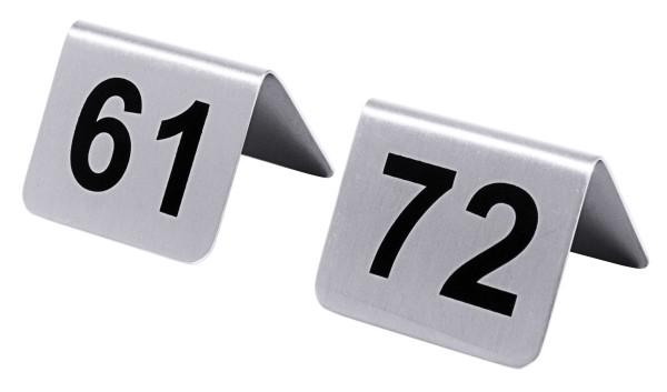 Tischnummern mit Nummern 61 bis 72