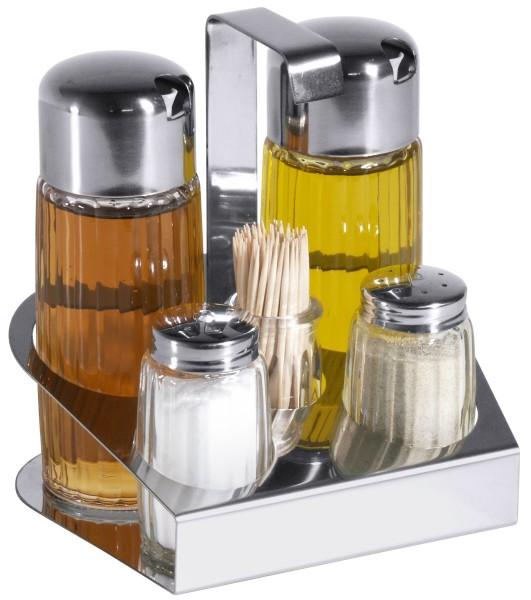 Menage Salz/Pfeffer, Essig/Öl, Zahnstocher 15 cm