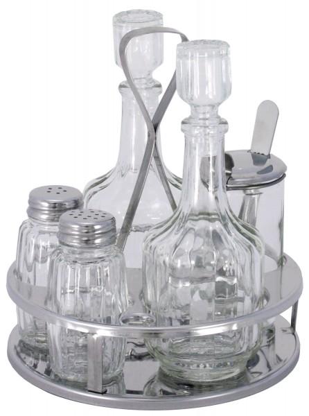 Menage Salz/Pfeffer, Essig/Öl, Senf